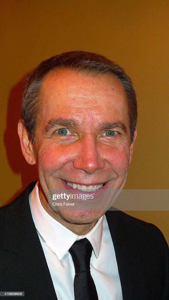 Headshot portrait of American artist and sculptor Jeff Koons at the Orpheum Theater, Los Angeles, California, February 24, 2014. Koons was there to be interviewed by film director John Waters as part of 'The Un-Private Collection' lecture series.