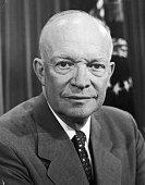 Headshot portrait of American president Dwight D Eisenhower taken during his first term