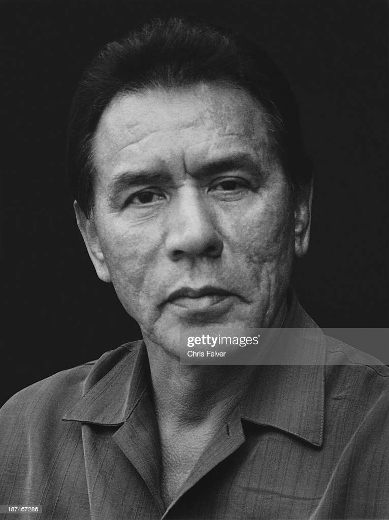 Headshot portrait of Native American actor <a gi-track='captionPersonalityLinkClicked' href=/galleries/search?phrase=Wes+Studi+-+Actor&family=editorial&specificpeople=1147913 ng-click='$event.stopPropagation()'>Wes Studi</a>, San Francisco, California, 2006.