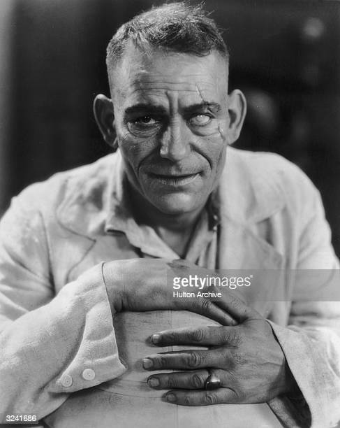 Headshot promotional portrait of American actor Lon Chaney with one 'blind' eye for director Tod Browning's silent film 'Road To Mandalay'