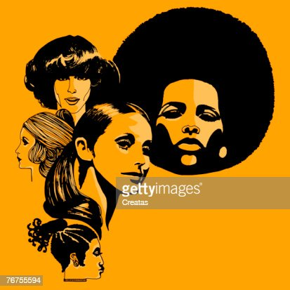 Headshots of women with retro hairstyles : Foto stock