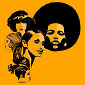 Headshots of women with retro hairstyles