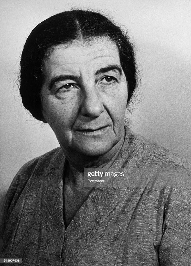 Headshoulders portrait of Mrs Golda Meir Isreali Foreign Minister Photo filed 1962