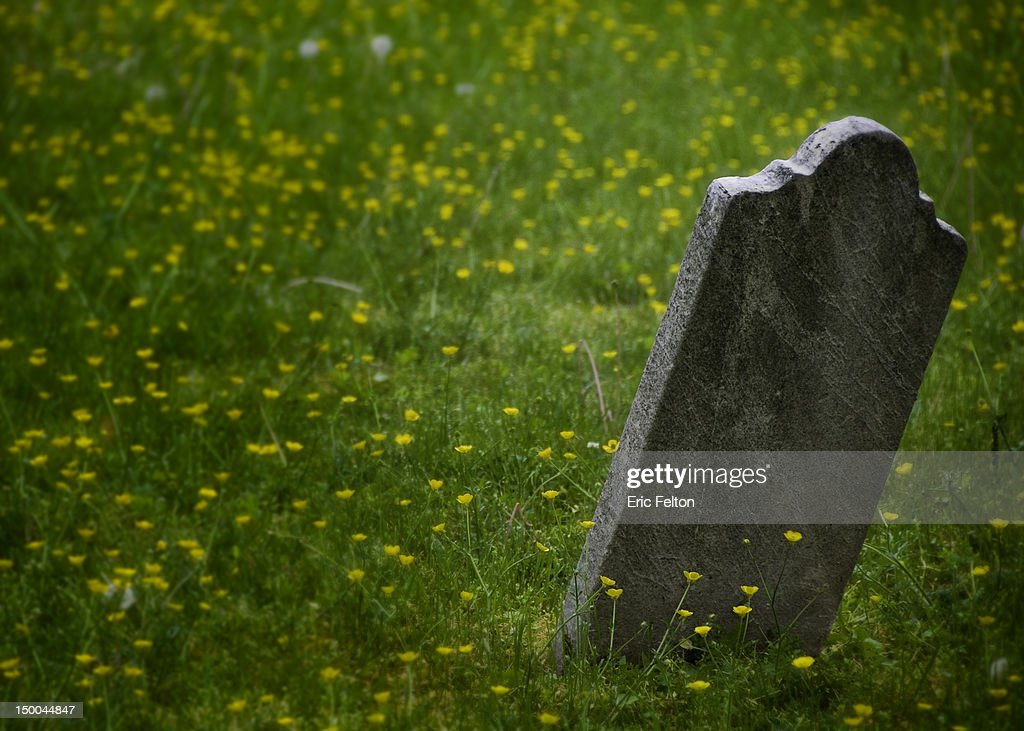 Headstone in the grass : Stock Photo