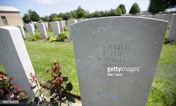 A headstone is seen at Bayeux Cemetery during DDay 70 Commemorations on June 6 2014 in Bayeux France Friday 6th June is the 70th anniversary of the...