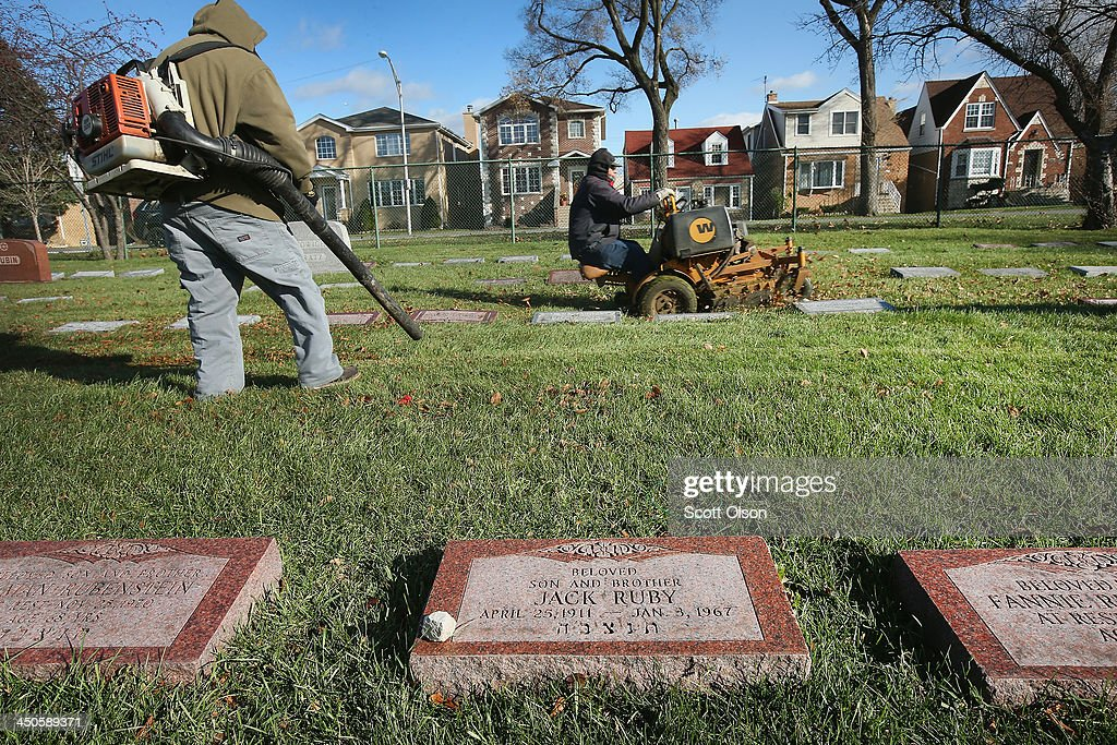 A headstone marks the grave of Jack Ruby in Westlawn Cemetery on November 18, 2013 in Norridge, Illinois. Ruby, who was born Jacob Rubenstein, killed Lee Harvey Oswald as Oswald was being transferred from police headquarters to the county jail after being taken into custody following the assassination of President John F. Kennedy two days earlier. Ruby is buried between his brother Hyman Rubenstein and his mother Fannie Rubenstein. It has been fifty years since John F. Kennedy was assassinated on November 22, 1963