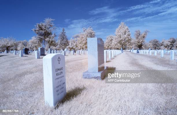 Headstones are seen at Arlington Cemetary in Arlington Virginia on September 21 2017 / AFP PHOTO / Andrew CABALLEROREYNOLDS