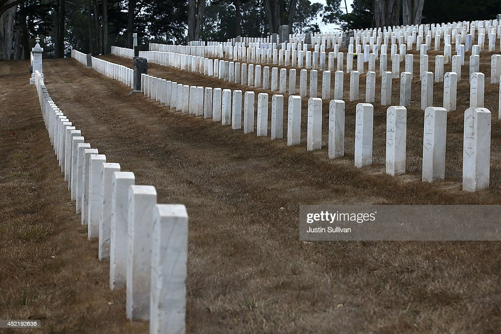 Headstones are surrounded by dead grass at the Presidio National Cemetery on July 15, 2014 in San Francisco, California. As the severe drought in California contiues to worsen, the State's landscape and many resident's lawns are turning brown due to lack of rain and the discontinuation of watering.