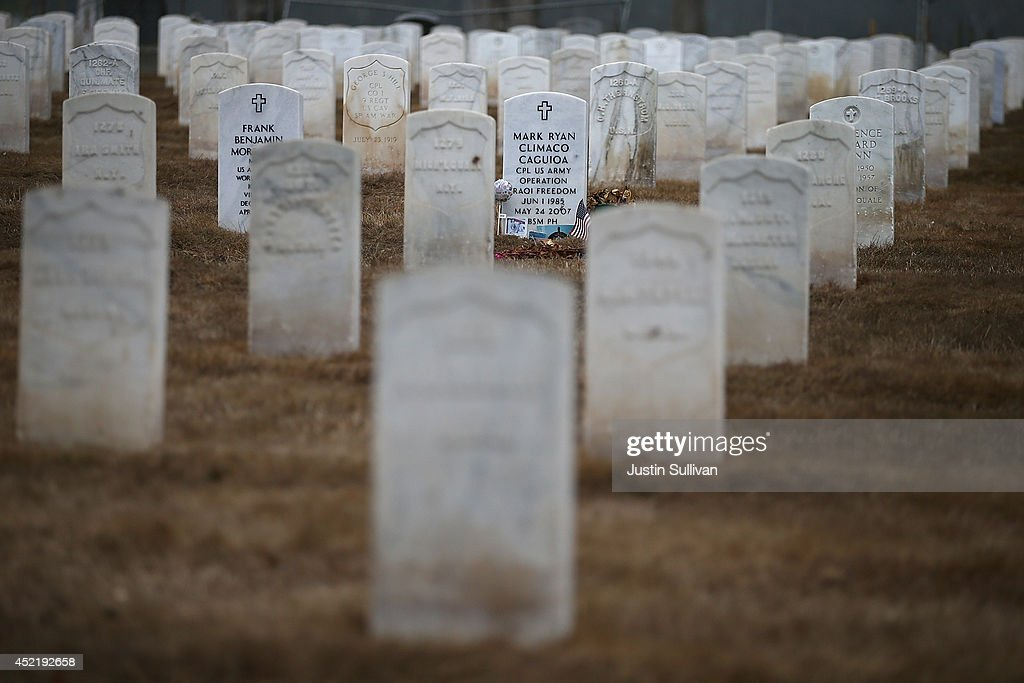 Headstones are surrounded by dead grass at the Presidio National Cemetery on July 15 2014 in San Francisco California As the severe drought in...