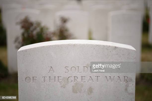 Headstones for unidentified soldiers are seen at the Tyne Cot Cemetery on July 29 2017 in Zonnebeke in the Ypres Salient battlefields area of Belgium...