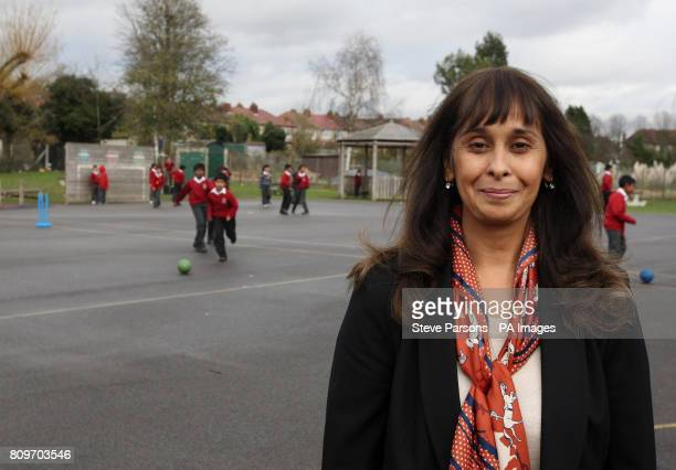 Headteacher Rekha Bhakoo CBE stands in the playground at Newton Farm Infant and Nursery School in Harrow which gained the highest average points...
