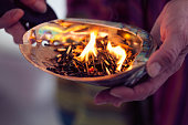 healing ceremony: burning incense in a shell