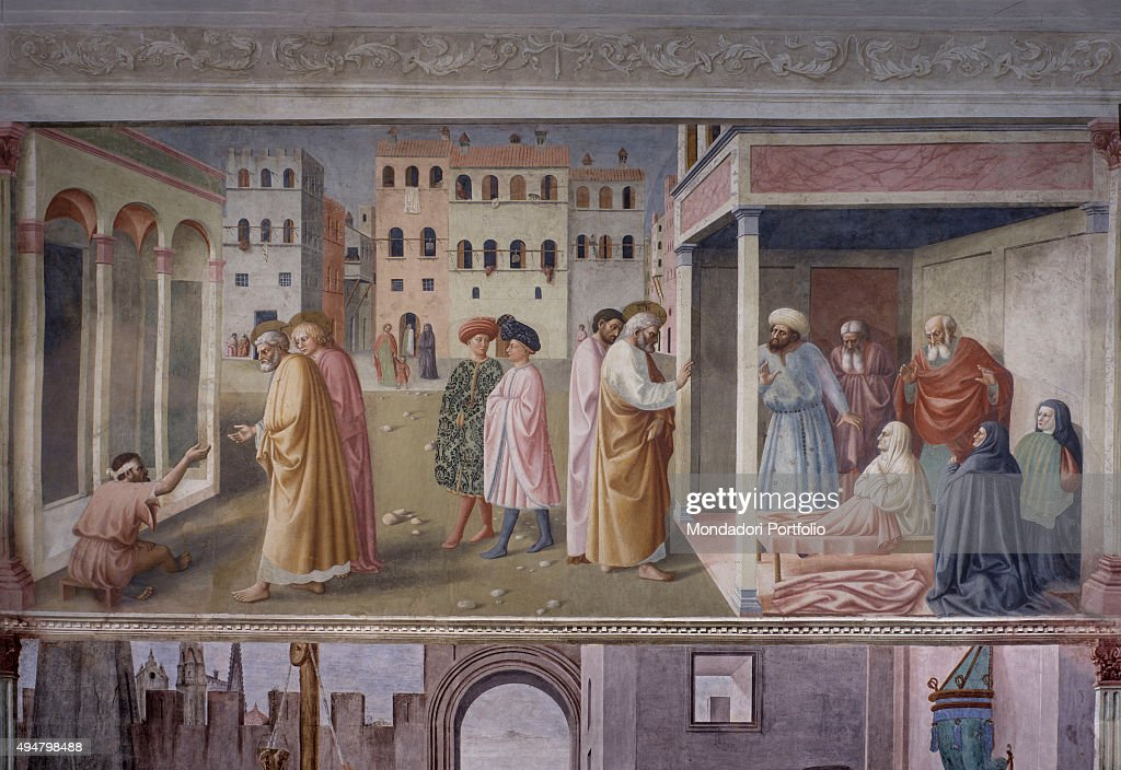Healing of the Crippled Man and Raising of Tabitha (Guarigione dello storpio e Resurrezione di Tabita), by Masolino da Panicale, 1424-1425, 15th Century, fresco, 260 x 599 cm Italy, Tuscany, Florence, Church of Santa Maria del Carmine, Brancacci Chapel. Whole artwork view. The fresco represents two miracles by St. Peter, described in the Acts of Apostles: in the left part, a crippled man is begging for money in front of a loggia, while St. Peter gives him his hand in order to heal him, under the careful eyes of the young St, John; in the right part, a Christian woman named Tabitha, wearing the shroud, is brought back to life by the saint, among astonished onlookers; in the middle of the scene, two middle-class men are walking along, unresponsive in respect of what is happening all around them; on the background, a square in a perspective view - maybe Piazza della Signoria in Florence - with crenellated houses and palaces and poles between windows.