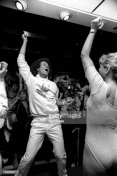 Health Advocate Richard Simmons attends the launch party for Richard Simmons 'Everyday' Excercise Video on June 20 1983 at Bloomingdale's in New York...