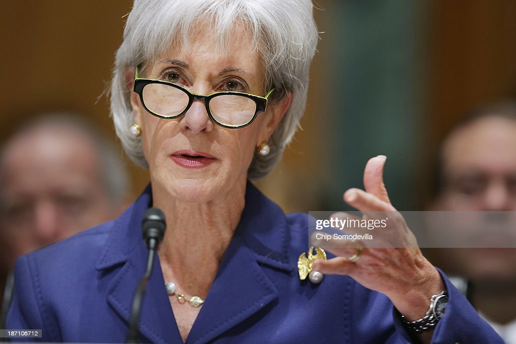 Health and Human Services Secretary <a gi-track='captionPersonalityLinkClicked' href=/galleries/search?phrase=Kathleen+Sebelius&family=editorial&specificpeople=700528 ng-click='$event.stopPropagation()'>Kathleen Sebelius</a> answers questions about the error-plagued launch of Healthcare.gov while testifying before the Senate Finance Committee in the Dirksen Senate Office Building on Capitol Hill November 6, 2013 in Washington, DC. Sebelius also faced tough questions from both Republicans and Democrats about people being kicked off their health insurance plans after President Barack Obama's earlier promise that if people liked their current coverage they could keep it under the Affordable Care Act.