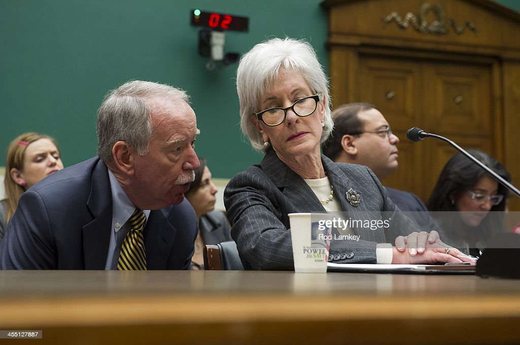 Health and Human Services Secretary <a gi-track='captionPersonalityLinkClicked' href=/galleries/search?phrase=Kathleen+Sebelius&family=editorial&specificpeople=700528 ng-click='$event.stopPropagation()'>Kathleen Sebelius</a> (R) confers with a member of her staff as she testifies during a House Health Subcommittee hearing on 'PPACA (Patient Protection and Affordable Care Act) Implementation Failures: What's Next?' in the Rayburn House Office Building on Capitol Hill, December 11, 2013 in Washington, DC. Sebelius has called for an investigation into the management and contracting decisions that went in to the botched rollout of the HealthCare.gov website.