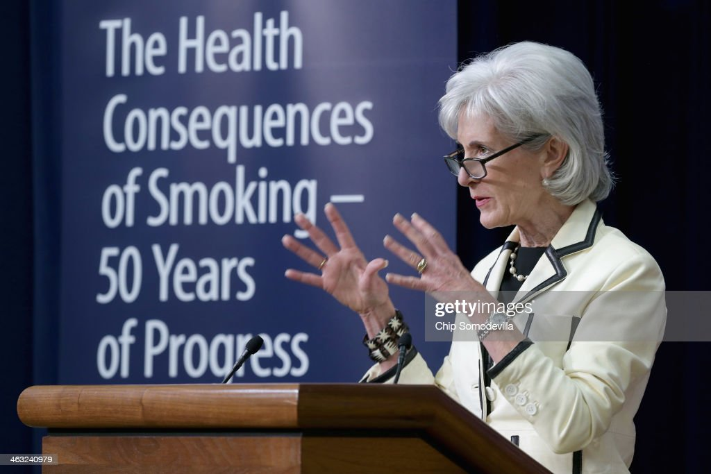 Health and Human Services Secretary <a gi-track='captionPersonalityLinkClicked' href=/galleries/search?phrase=Kathleen+Sebelius&family=editorial&specificpeople=700528 ng-click='$event.stopPropagation()'>Kathleen Sebelius</a> delivers remarks during an event marking the 50th anniversary of the U.S. surgeon general's warning that smoking is unhealthy in the Eisenhower Executive Office Building January 17, 2014 in Washington, DC. The surgeon general released a new report, 'The Health Consequences of Smoking - 50 Years of Progress: A Report of the Surgeon General' to mark the anniversary.