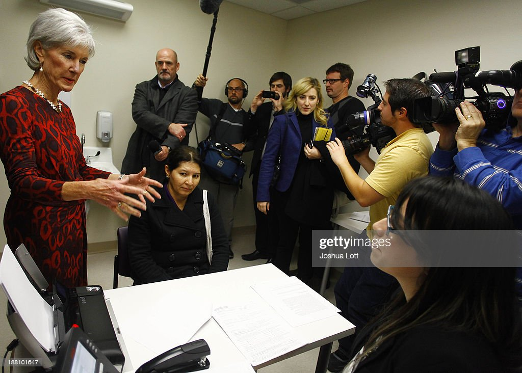 U.S. Health and Human Services Secretary <a gi-track='captionPersonalityLinkClicked' href=/galleries/search?phrase=Kathleen+Sebelius&family=editorial&specificpeople=700528 ng-click='$event.stopPropagation()'>Kathleen Sebelius</a> (2nd L) greets certified application counselor Maria Romo (R) and patient Maria Gonzalez (3rd L) at Community Health and Social Services Center November 15, 2013 in Detroit, Michigan. Sebelius, who has been the center of attention in U.S. President Barack Obama's administration for the failed rollout of Healthcare.gov, says the health care act has yet to be successful.