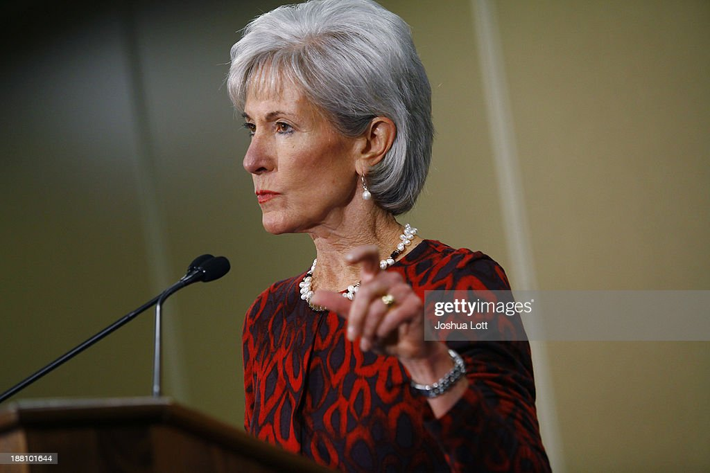 U.S. Health and Human Services Secretary <a gi-track='captionPersonalityLinkClicked' href=/galleries/search?phrase=Kathleen+Sebelius&family=editorial&specificpeople=700528 ng-click='$event.stopPropagation()'>Kathleen Sebelius</a> speaks about the Affordable Care Act during her visit to Community Health and Social Services Center (CHASS) November 15, 2013 in Detroit, Michigan. Sebelius, who has been the center of attention in U.S. President Barack Obama's administration for the failed rollout of Healthcare.gov, says the health care act has yet to be successful.