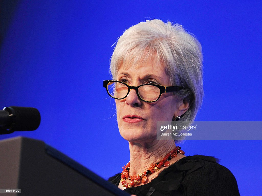U.S. Health and Human Services Secretary <a gi-track='captionPersonalityLinkClicked' href=/galleries/search?phrase=Kathleen+Sebelius&family=editorial&specificpeople=700528 ng-click='$event.stopPropagation()'>Kathleen Sebelius</a> speaks at a mental health forum at the John F. Kennedy Presidential Library and Museum October 23, 2013 in Boston, Massachusetts. The event event marks the 50th anniversary of President John F. Kennedy's signing of the Community Mental Health Act.