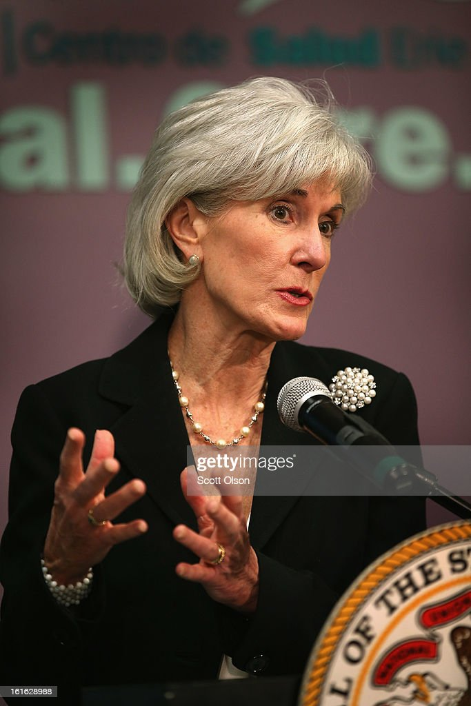 Health and Human Services Secretary Kathleen Sebelius speaks during a press conference at the Erie Family Health Center on February 13, 2013 in Chicago, Illinois. Sebelius, with Illinois Governor Pat Quinn, used the opportunity to promote cooperation between states and the federal government in the implementation of the Affordable Care Act.