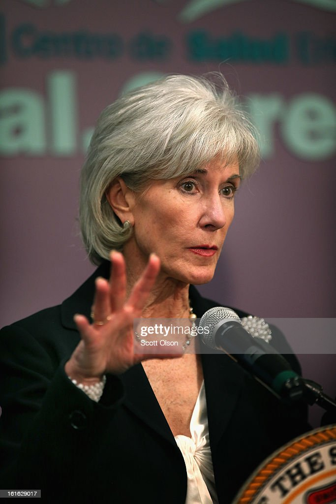 Health and Human Services Secretary <a gi-track='captionPersonalityLinkClicked' href=/galleries/search?phrase=Kathleen+Sebelius&family=editorial&specificpeople=700528 ng-click='$event.stopPropagation()'>Kathleen Sebelius</a> speaks during a press conference at the Erie Family Health Center on February 13, 2013 in Chicago, Illinois. Sebelius, with Illinois Governor Pat Quinn, used the opportunity to promote cooperation between states and the federal government in the implementation of the Affordable Care Act.