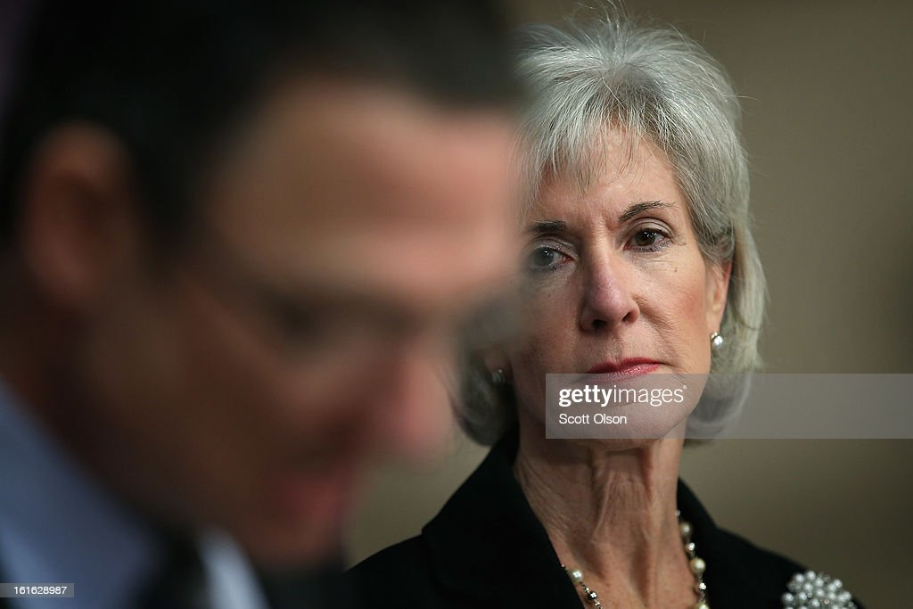 Health and Human Services Secretary Kathleen Sebelius waits to be introduced during a press conference at the Erie Family Health Center on February 13, 2013 in Chicago, Illinois. Sebelius, with Illinois Governor Pat Quinn, used the opportunity to promote cooperation between states and the federal government in the implementation of the Affordable Care Act.