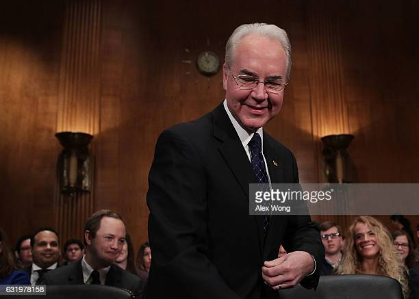 S Health and Human Services Secretary Nominee Rep Tom Price takes his seat during his confirmation hearing January 18 2017 on Capitol Hill in...