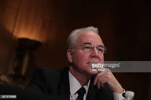 S Health and Human Services Secretary Nominee Rep Tom Price testifies during his confirmation hearing January 18 2017 on Capitol Hill in Washington...