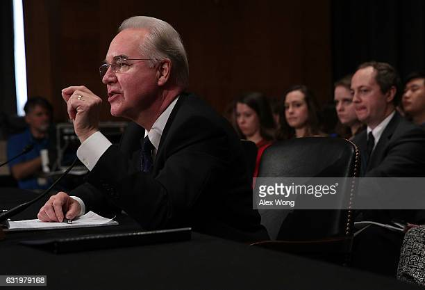 S Health and Human Services Secretary Nominee Rep Tom Price testifies during his confirmation hearing January 17 2017 on Capitol Hill in Washington...