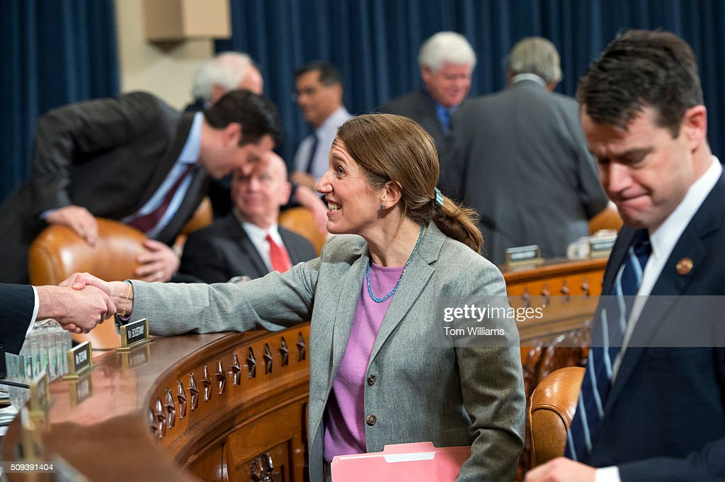 Health and Human Services Secretary Sylvia Mathews Burwell greets members before a House Ways and Means Committee hearing in Longworth on the HHS Fiscal Year 2017 budget request, February 10, 2016.