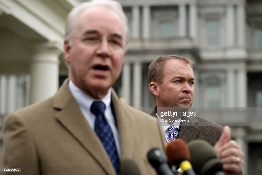 U.S. Health and Human Services Secretary Tom Price (L) and Office of Management and Budget Director Mick Mulvaney talk to reporters following the release of the Congressional Budget Office report on the proposed American Health Care Act outside the White House West Wing March 13, 2017 in Washington, DC. Price said 'We disagree strenuously' with the findings of the CBO report about the Republican's attempt to repeal and replace the Affordable Care Act, or Obamacare.