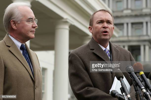 S Health and Human Services Secretary Tom Price and Office of Management and Budget Director Mick Mulvaney talk to reporters following the release of...