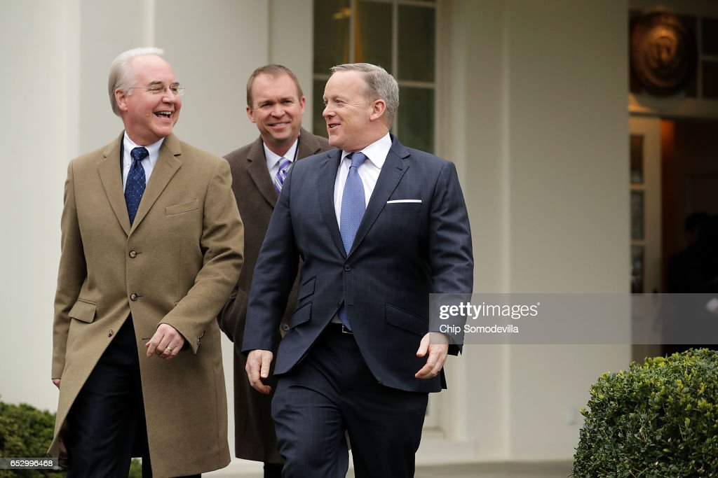 U.S. Health and Human Services Secretary Tom Price, Office of Management and Budget Director Mick Mulvaney and White House Press Secretary Sean Spicer walk out of the West Wing before talking to reporters following the release of the Congressional Budget Office report on the proposed American Health Care Act at the White House March 13, 2017 in Washington, DC. Price said 'We disagree strenuously' with the findings of the CBO report about the Republican's attempt to repeal and replace the Affordable Care Act, or Obamacare.