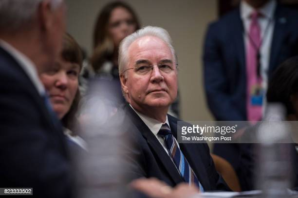 Health and Human Services Secretary Tom Price right listens as Vice President Mike Pence speaks during a meeting on healthcare reform in the...