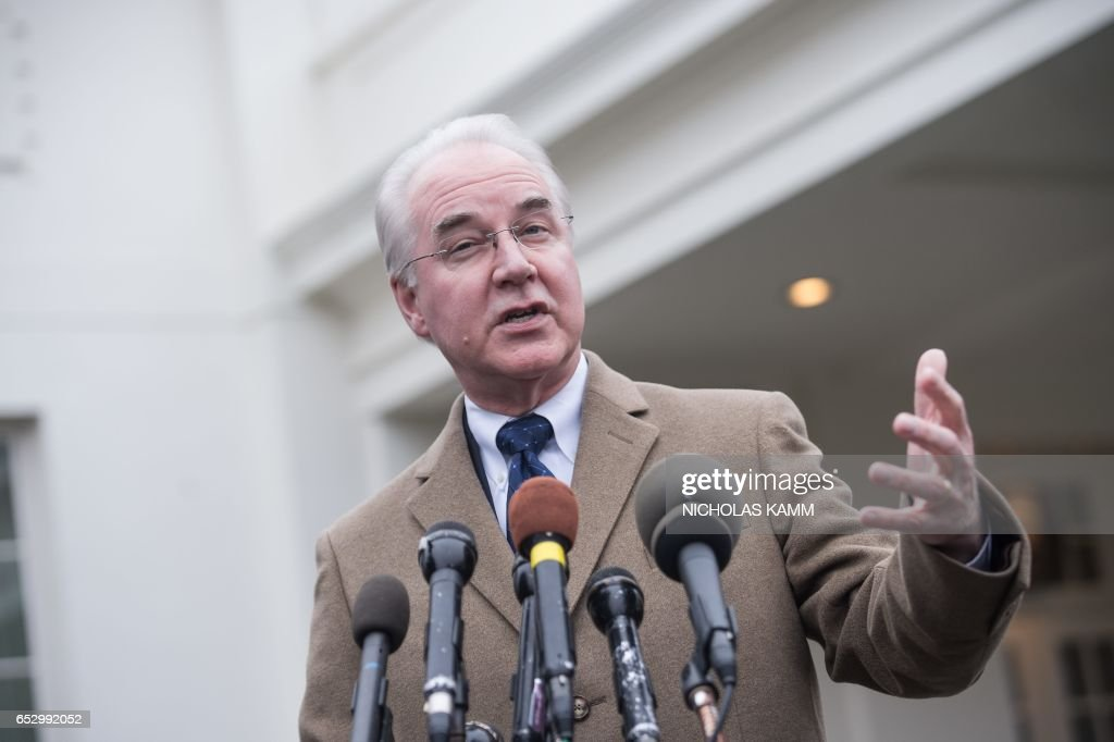 US Health and Human Services Secretary Tom Price speaks to reporters outside the West Wing of the White House in Washington, DC, on March 13, 2017. /