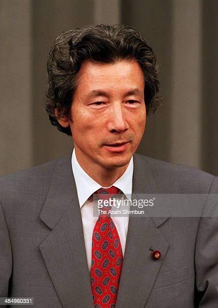 Health and Welfare Minister Junichiro Koizumi speaks during a press conference at prime minister official residence on September 11 1997 in Tokyo...