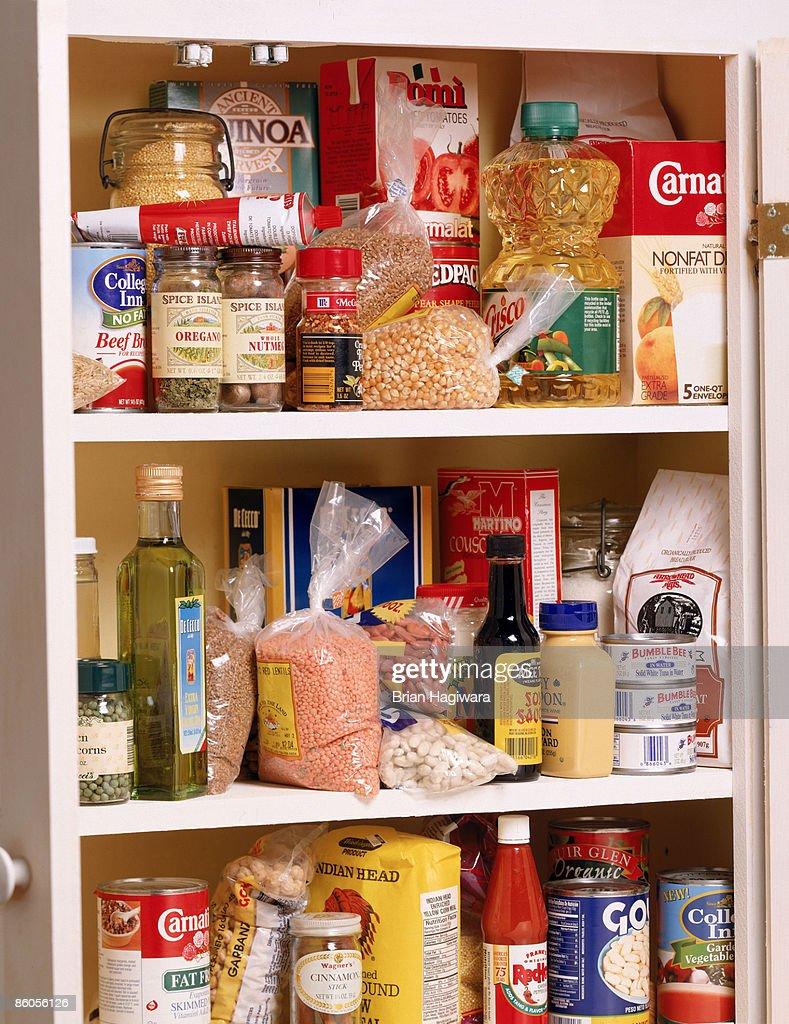 Health food in a pantry : Foto de stock