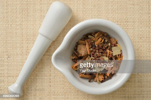 Health food spices with mortar and pestle