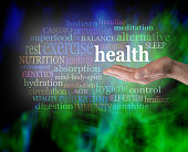 Male hand outstretched with the word 'Health' floating above, surrounded by a word cloud on a vibrant green and blue modern grunge background