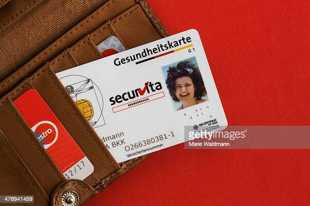 Health insurance card in a wallet on February 25 2014 in Berlin Germany