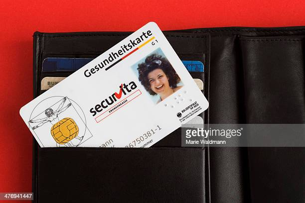 Health insurance card with photo in a wallet on February 25 2014 in Berlin Germany