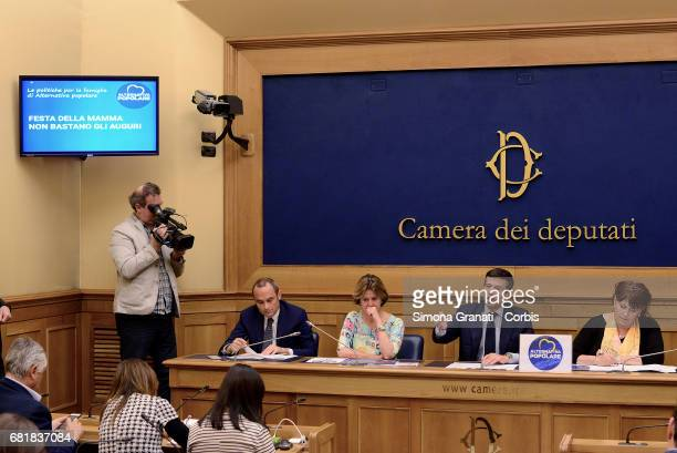 Health Minister Beatrice Lorenzin Family Minister Enrico Costa Maurizio Lupi and Laura Bianconi of the Alternativa Popolare Party speaks at a press...