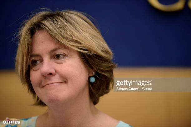 Health Minister Beatrice Lorenzin of the Alternativa Popolare Party speaks at a press conference to confirm the launch of the 'Bonus Mamma' scheme on...