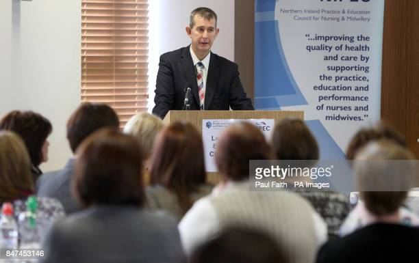Health Minister Edwin Poots addresses delegates at the Ward Sister Conference in Mossley Mill Newtownabbey