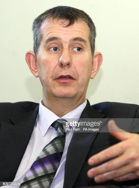 Health Minister Edwin Poots speaks to the Press Associastion at Stormont in Belfast