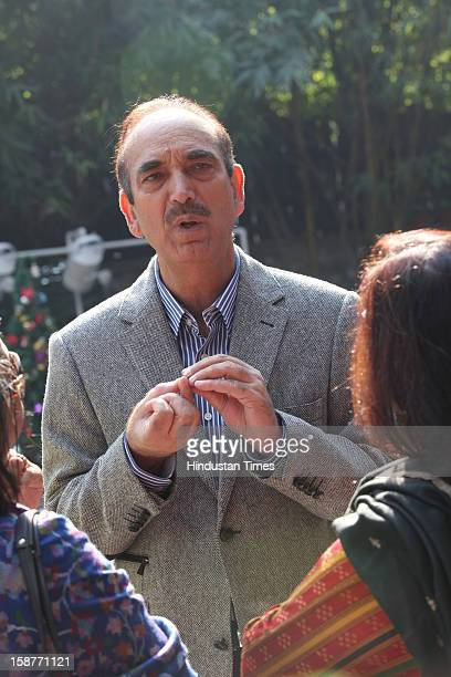 Health minister Ghulam Nabi Azad during Christmas party thrown by communication guru Dilip and Devi Cherian at Lodi Garden on December 22 2012 in New...