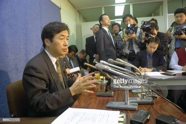 Health Minister Naoto Kan speaks during a press conference accepting the settlement plan with the HIV tainted blood case plaintiffs at Health...