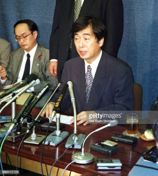 Health Minister Naoto Kan speaks during a press conference after a former Health Ministry official was arrested on October 4 1996 in Tokyo Japan