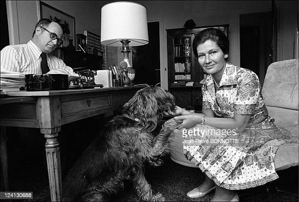 Health Minister Simone Veil In Paris France On June 17 1974 Antoine and Simone Veil with her dog 'Chadoc' at home